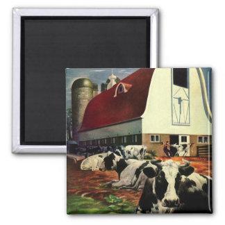 Aimant Affaires vintages, vaches à lait du Holstein à