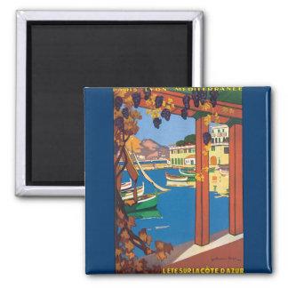 Aimant Affiche vintage de la Côte d'Azur de voyage