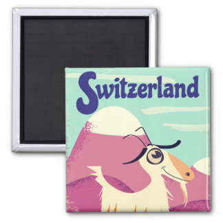 Aimant Affiche vintage de voyage de style de la Suisse