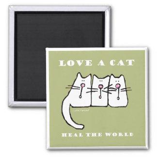 Aimant Aimez les chatons d'un chat trois