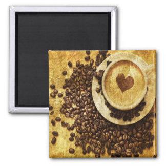 Aimant Amant chic de café de grains de café de cappuccino