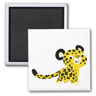 Aimant amical de léopard de bande dessinée mignonn