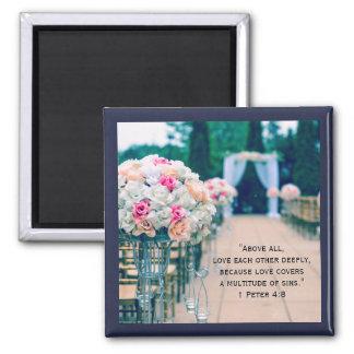 Aimant Amour de bouquet de fleur et vers de bible de