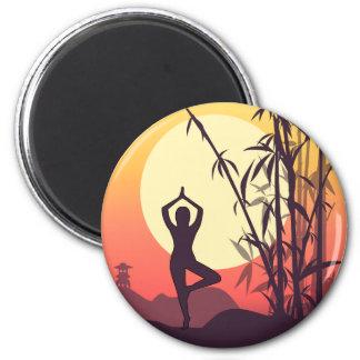 Aimant Amour de coucher du soleil de yoga