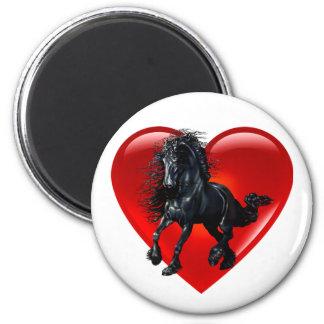 Aimant Amour rouge de coeur de cheval frison d'étalon