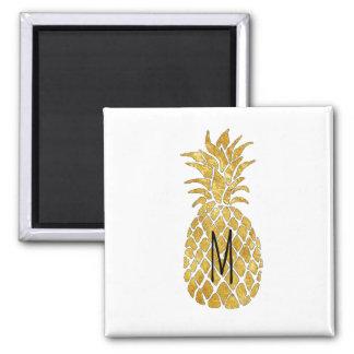 Aimant ananas d'or de monogramme