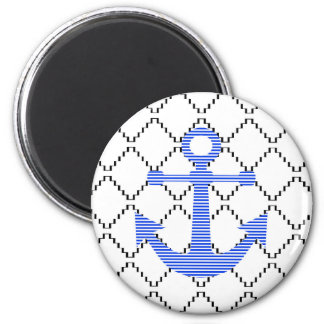 Aimant Ancre bleue - motif géométrique abstrait - noir