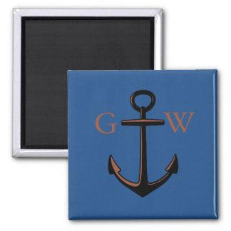 Aimant Ancre nautique et ligne de monogramme fait sur