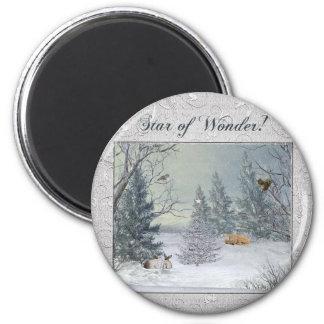 Aimant Animaux dans la forêt d'hiver, arbre avec