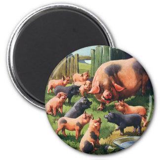 Aimant Animaux de ferme vintages, porc avec les porcelets