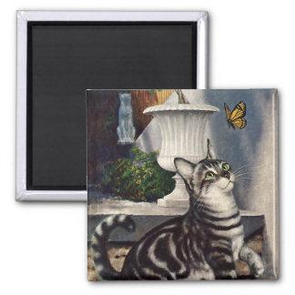 Aimant Animaux vintages, chat tigré mignon et papillon