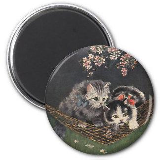 Aimant Animaux vintages, chat tigré ou chatons dans un