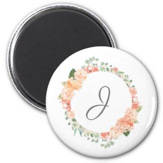 Aimant Anneau floral d'aquarelle avec tout monogramme
