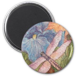 Aimant Aquarelle illustrée d'iris de libellule