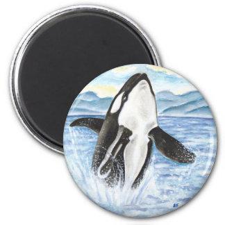 Aimant Aquarelle ouvrant une brèche la baleine d'orque