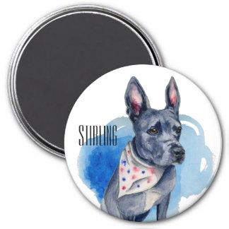 Aimant Aquarelle personnalisable de bleu de chien de