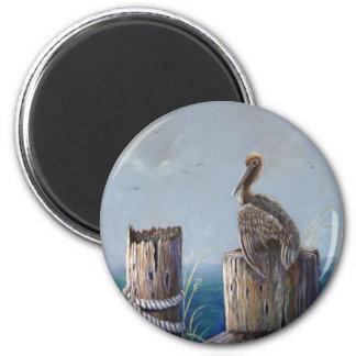 Aimant Art acrylique d'océan de pélican de Brown de côte