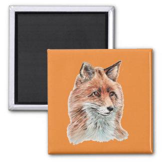 Aimant Art de peinture d'aquarelle de Fox rouge