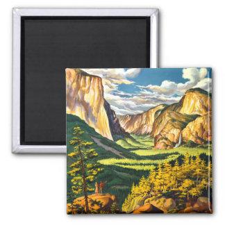 Aimant Art de voyage de parc national de Yosemite