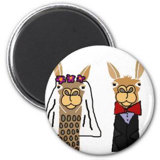 Aimant Art drôle de mariage de jeunes mariés de lama