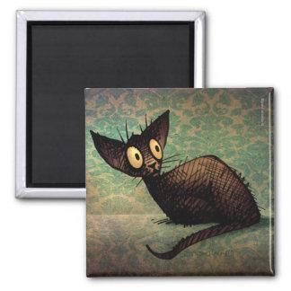 Aimant Art oriental noir mignon et drôle de chat