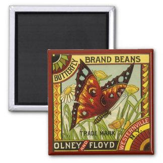Aimant Art végétal vintage d'étiquette, haricots de
