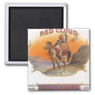 Aimant Art vintage d'étiquette de cigare, Indien rouge de