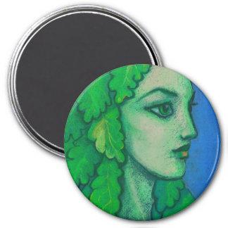 Aimant Balanis, dryade, feuille vert, déesse de forêt,