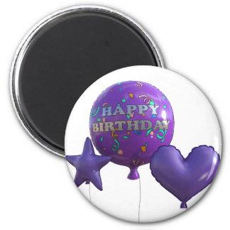 Aimant Ballons de joyeux anniversaire dans le pourpre