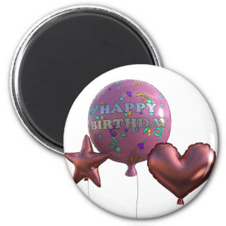 Aimant Ballons roses de joyeux anniversaire