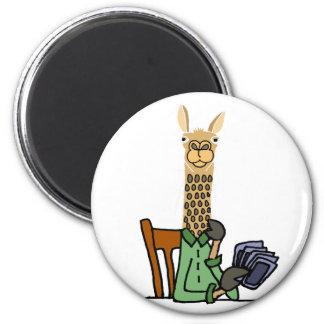Aimant Bande dessinée drôle de cartes de jeu de lama