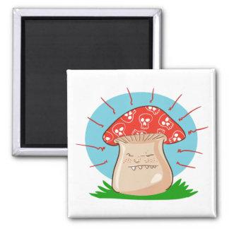 Aimant bande dessinée drôle de champignon fâché