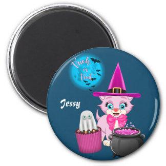 Aimant Bande dessinée rose de Halloween de chaton
