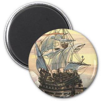 Aimant Bateau de pirate vintage, navigation de galion sur