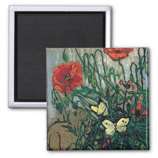 Aimant Beaux-arts de Van Gogh de pavots et de papillons