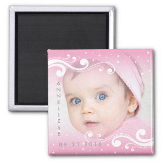 Aimant Belle photo de bébé avec le nom et la date