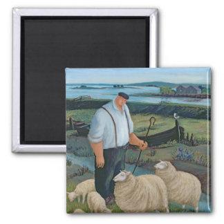 Aimant Berger avec des moutons dans le paysage de rivière
