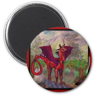 Aimant Bête à ailes par batte rouge de Pegasus de licorne
