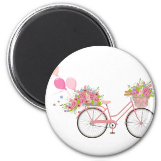 Aimant Bicyclette rose lunatique