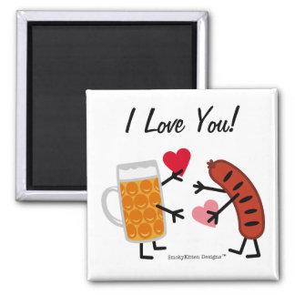 Aimant Bière et bratwurst - je t'aime - Saint-Valentin
