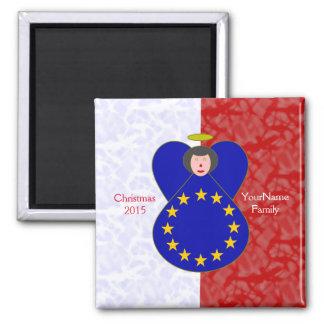 Aimant Blanc rouge de drapeau Noir-Haired d'Union