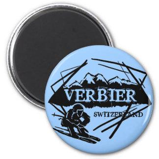 Aimant bleu de logo de ski de Verbier Suisse