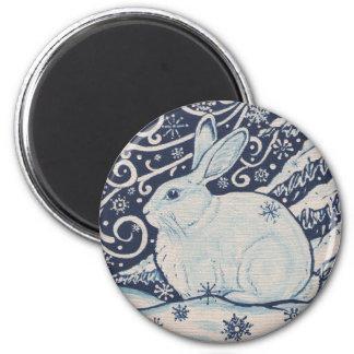 Aimant Bleu original et blanc de lapin de Noël d'hiver