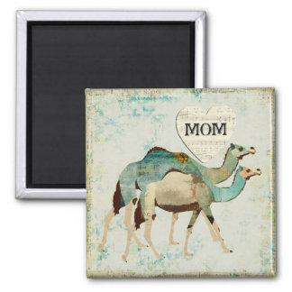 Aimant bleu rêveur de maman de chameaux