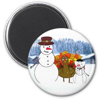 Aimant Bonhommes de neige de thanksgiving