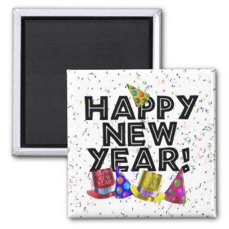 Aimant Bonne année - texte noir avec des chapeaux de