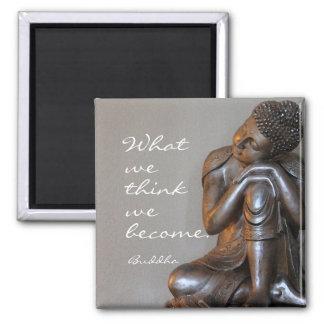 Aimant Bouddha argenté paisible avec la citation inspirée