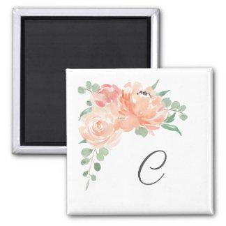 Aimant Bouquet floral d'aquarelle avec votre monogramme