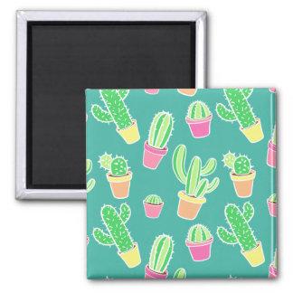 Aimant Cactus au néon d'aquarelle dans le motif de pots