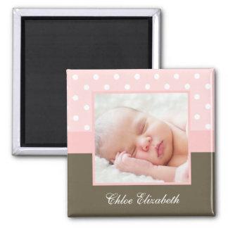 Aimant Cadre rose de photo de bébé de pois